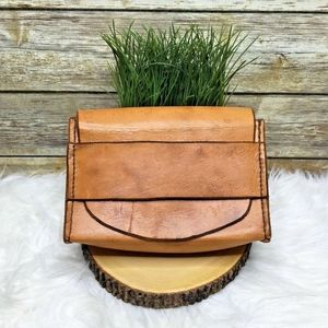 Tan Brown Leather Artisan Hand Tooled Clutch Purse